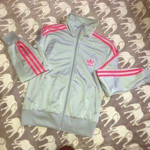 Gray and Pink Adidas Track Jacket